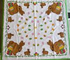Vintage German Easter Rabbit Eggs Tablecloth Printed 100 Cotton