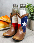 Western Cowboy Cowgirl Texas Flag Boots Salt And Pepper Shakers Set Figurine