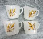 Four Fire King wheat pattern milk white glass cream pitchers creamers FREE S/H
