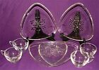8 Pc Vtg Indiana Glass Snowflake Clear Snack Set 4 Cups 4 Plates Atomic Triangle