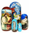 Savior 5 Piece Religious Christian Jesus Christ Nativity Russian Nesting Doll