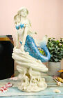 Ocean Aqua Blue Tailed Mermaid Sitting On Sea Rock Figurine 115H Decor Statue