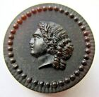 Exceptional LARGE Antique 1800's Pressed HORN Picture BUTTON Ladies Head (W22)