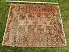 Unique ANTIQUE Vintage WORN Afghan ORIENTAL Area RUG 36x46 FADED Brown
