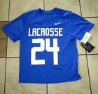 Boys Youth NWT NIKE LACROSSE JERSEY AH3200-493 #24 Bright Blue BOYS SIZE L