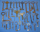 ANTIQUE KEY LOT- HOLLOW, SKELETON, CABINET, FOLDING, CLOCK- KEYS BRASS