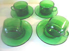 Vereco of France lot 4 Cups / Mugs with Saucers Emerald or Forest Green Glass