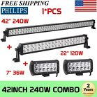 """PHILIPS 42Inch LED Light Bar Combo+ 22in +7"""" CREE PODS OFFROAD SUV 4WD FORD XP"""