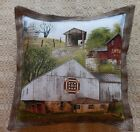 Primitive Amish Country Barns Covered Bridge Pillow Tuck Bowl Filler Rural Decor