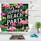 Summer Beach Party Palm Trees Flowers Fabric Shower Curtain and Bath Mat Set