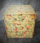 DIVINE MASSIVE SIZE ANTIQUE FRENCH TEXTILE COVERED SEWING or BOUDOIR TRINKET BOX