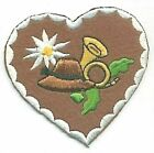 Alpine Edelweiss Flower Heart Embroidery Patch