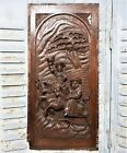 Gothic hunting galant scene panel Antique french wooden architectural salvage