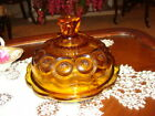 L E Smith Moon and Stars Amber Round Butter Dish  Mint