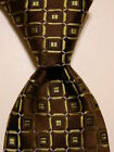 IKE BEHAR Men's 100% Silk XL Necktie USA Designer Geometric Brown/Green/Blue EUC