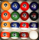 Modern Style Pool Table Billiard Ball Set W Red Circle  8 Ball