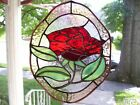 Stained Glass Rose Sun catcher Real Glass
