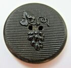 Nice Old Antique 1800's Carved HORN Picture BUTTON Grapes on Vine 1- 1/8
