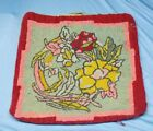 Antique Quebec Folk Art Hand Hooked Cushion Cover Rug