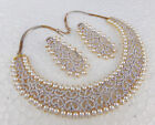 Stunning Clear White Diamante Jewelry Indian Fashion Pearl Necklace Earrings Set