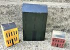 Set of 3 Hand Crafted Primitive Painted Distressed Block Wood Saltbox Houses