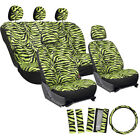 Car Seat Covers Green 17pc for Auto Zebra Tiger Animal Print Steering Wheel