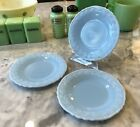 3 McKee Delphite Poudre Blue Milk Glass Laurel Leaf Pattern 6