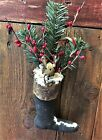 Primitive Grungy Fabric Christmas Stocking w Bunny Pine Red Pip Berries