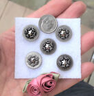 lot, set 5 victorian CUT STEEL star BUTTONS, 5/8
