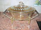 Vintage Fire King Chafing Dish, Culver Seville Gold Turquoise Decoration w Frame