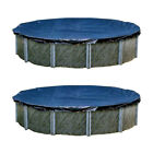Swimline 30 Foot Heavy Duty Deluxe Round Above Ground Winter Pool Cover 2 Pack