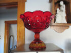 Vintage Smith Ruby Red Moon and Star Art Glass Compote Pedestal Bowl