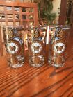 GEORGE BRIARD GOLD WHITE Butterfly DRINKING GLASSES SET OF 3 Excellent!