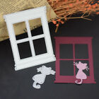 Window Cat Metal Cutting Dies Scrapbook Album Cards Embossing Stencil Frame New