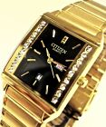 New Citizen Day Date gold tone Rectangle Oval Crystal Dial Analog Men's Watch