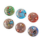 2Boxes Flat Round Handmade Silver Foil Lampwork Gold Sand Pendants Mixed 41x10mm
