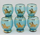 Vintage Jockey Glasses - Frosted Blue Roly Poly Cocktail Glasses Gold Jockey (6)