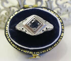 Natural Sapphire Sterling Silver Filigree Ring Vintage Art Deco Sz 675 Gift Box