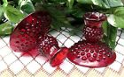 Fenton Ruby Hobnail Candlestick Holders pair circa 1970s
