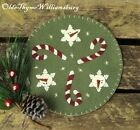 Candy Canes Penny Rug ~Winter Candle Mat