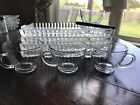 Vintage Orchard Crystal Party Set 4 Snack Trays And 4 Cups Hazel Atlas