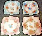 Vintage 4pc Set Ruffled Candy Dishes, Sawtooth Edges, 2 Pink-2 Blue Tint w/Flowe