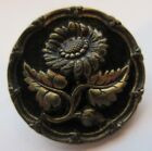 Lovely Antique~ Vtg Victorian Metal Picture BUTTON Flower w/ Ornate Rim 1