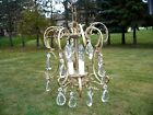 Small Petite Vintage Baroque Brass Cage Style Chandelier Crystal Prisms 3 Light