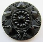 Marvelous LARGE Antique Victorian Pressed Black GLASS BUTTON Faceted STAR (N3)