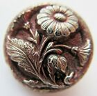 Exquisite Antique Black GLASS Picture BUTTON Silver Luster Red Wash Flower (P8)