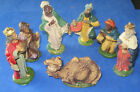 EARLY VINTAGE NATIVITY SCENE MANGER CHRISTMAS CHALK FIGURINES ITALY