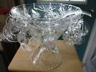 Anchor Hocking Early American Prescut Glass Punch Bowl, Stand, 12 Cups, Hooks