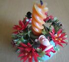 Vintage Christmas Candle Ring w Snowman Santa 4 Plastic Poinsettia Ornament