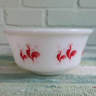 Hazel Atlas Platonite Milk Glass Red Rooster Mixing Bowl 7